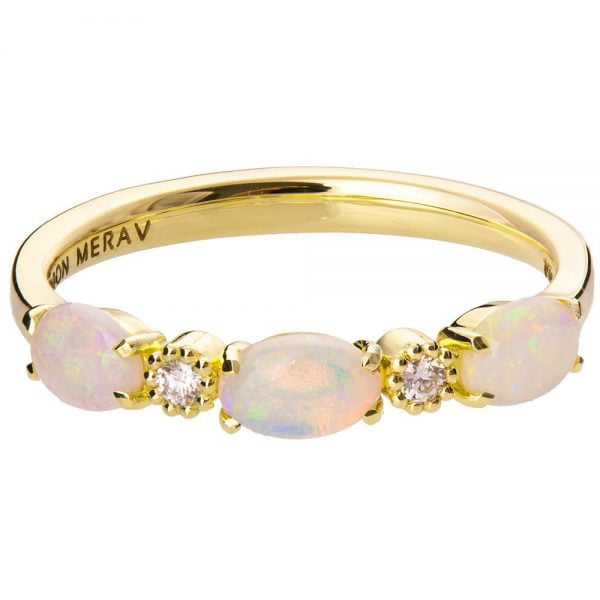 Australian Opal Half Eternity Ring Yellow Gold