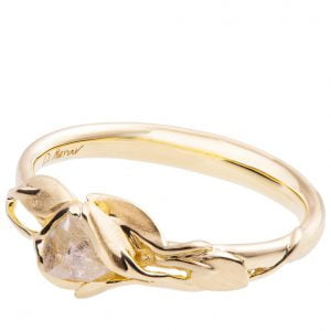 Raw Diamond Leaves Engagement Ring Yellow Gold 6