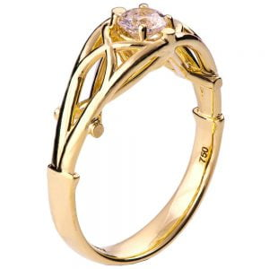 Celtic Engagement Ring Yellow Gold and Diamond 14