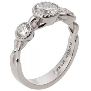 Braided Three Stone Engagement Ring White Gold and Diamonds 8
