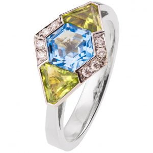 Art Deco Engagement Ring White Gold and Topaz