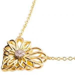 Heart Mandala Pendant Yellow Gold and Diamonds