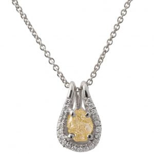 Raw Diamond Pendant White Gold