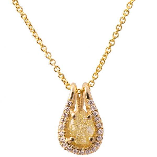 Raw diamond pendant yellow gold doron merav 3 copy mozeypictures Images