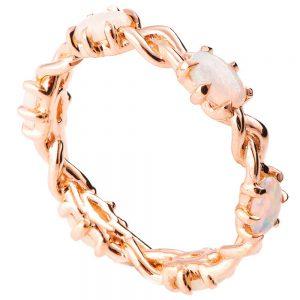 טבעת איטרניטי משובצת אופלים בסגנון צמה עשויה זהב אדום #Braidedopal
