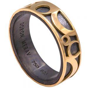 Circles Men's Wedding Band Yellow Gold