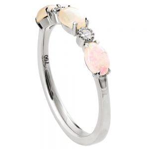 Opal Half Eternity Ring Platinum