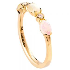 Opal Half Eternity Ring Rose Gold
