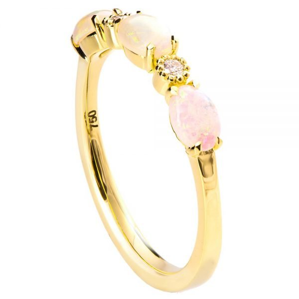 Opal Half Eternity Ring Yellow Gold