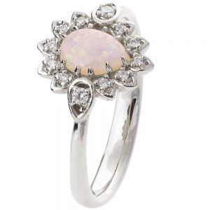 Petal Opal Engagement Ring White Gold