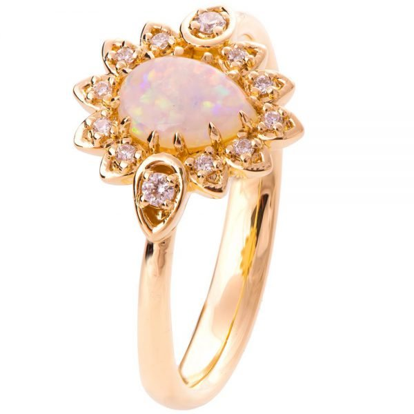 fdd5ca770c82e1 Petal Opal Engagement Ring Rose Gold - Doron Merav