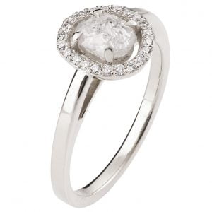 Raw Diamond Halo Engagement Ring Platinum