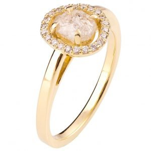 Raw Diamond Halo Engagement Ring Yellow Gold
