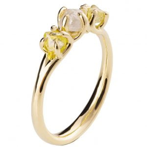 Raw Diamond Three Stone Engagement Ring Yellow Gold