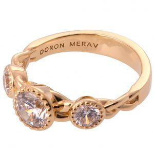 Braided Three Stone Engagement Ring Rose Gold and Diamonds 8