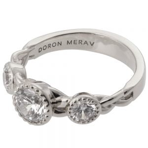Braided Three Stone Engagement Ring White Gold and Diamonds 8