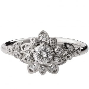Flower Engagement Ring Platinum and Diamonds 2B
