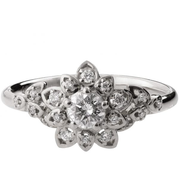 Flower Engagement Ring White Gold And Diamonds 2b Doron Merav