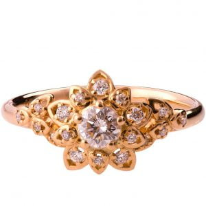 Flower Engagement Ring Rose Gold and Diamonds 2B