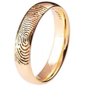 Finger Print Wedding Band Rose Gold