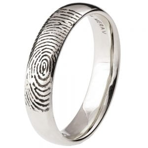Finger Print Wedding Band White Gold