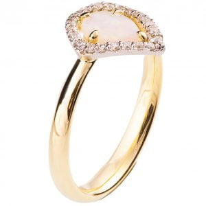 Halo Opal Engagement Ring Yellow Gold