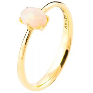 Solitaire Opal Engagement Ring Yellow Gold 1