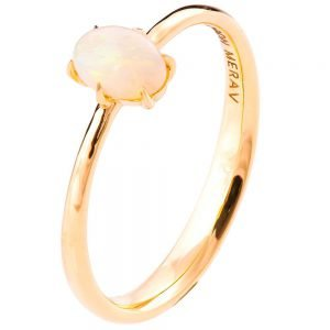 Solitaire Opal Engagement Ring Rose Gold 1