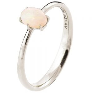 Solitaire Opal Engagement Ring White Gold 1
