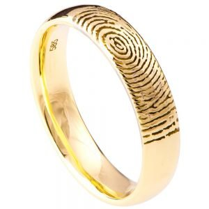 Finger Print Wedding Band Yellow Gold