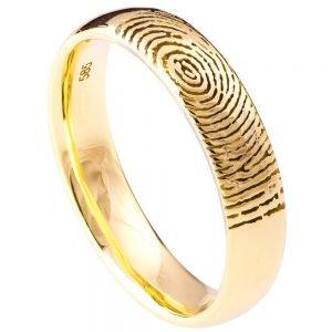Finger Print Wedding Band Yellow Gold