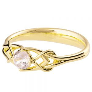 Celtic Engagement Ring Yellow Gold and Diamond ENG10B