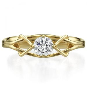 Celtic Engagement Ring Yellow Gold and Diamond ENG10