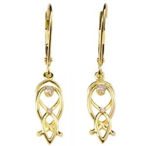 Celtic Earrings Yellow Gold and Diamonds 9