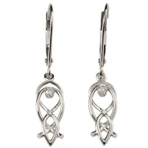 Celtic Earrings White Gold and Diamonds 9