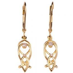 Celtic Earrings Rose Gold and Diamonds 9