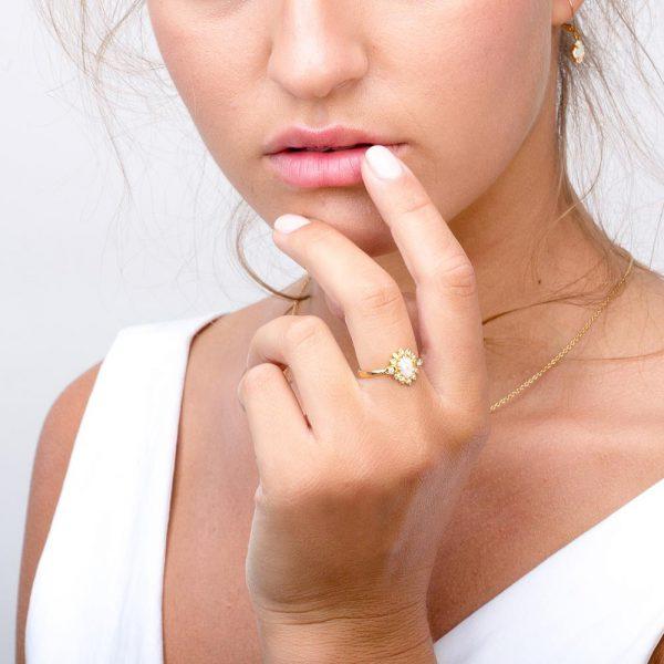 Opal 4 petal ring (Copy)