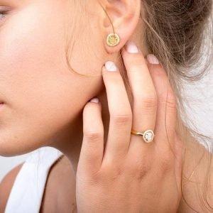Raw Diamond Earrings Rose Gold Catalogue