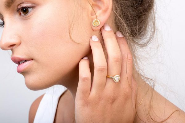 Raw halo ring + raw earrings (Copy)