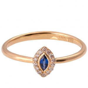 Marquise Cut Engagement Ring Rose Gold Sapphire and Diamonds R014