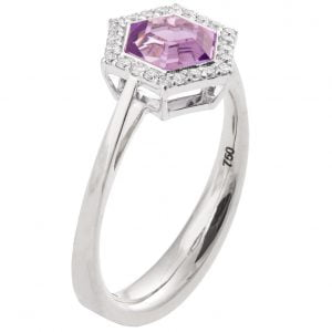 Art Deco Hexagon Engagement Ring Platinum and Amethyst R018