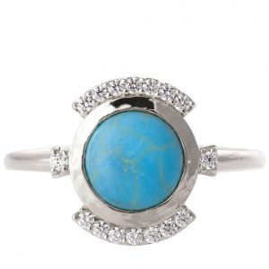 Turquoise Engagement Ring White Gold and Diamonds