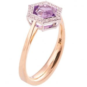 Art Deco Hexagon Engagement Ring Rose Gold and Amethyst R018