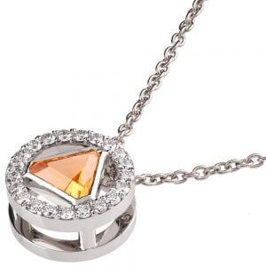 Triangle Pendant White Gold and Diamonds