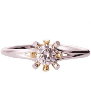 Sunburst Two Tone Engagement Ring Rose Gold and Diamond R019