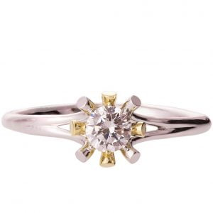 Sunburst Two Tone Engagement Ring Yellow Gold and Diamond R019
