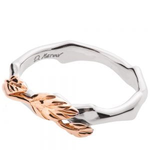 Twig and Leaf Wedding Band Rose Gold 7