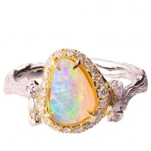 Twig Opal and Diamonds Engagement Ring Yellow Gold 10 Catalogue