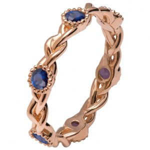 Braided Wedding Band Rose Gold and Sapphires E2
