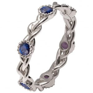 Braided Wedding Band White Gold and Sapphires E2